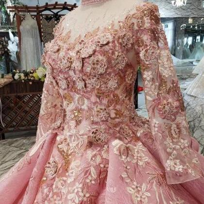 Pink New Prom Dresses Long Sleeves ..