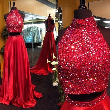 Red Two-Piece Crystal Embellished H..