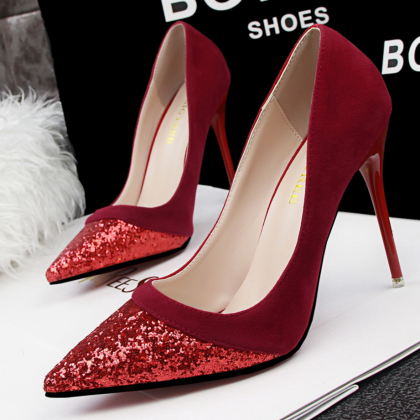 Pointed Toe Glittery High Heel Sued..