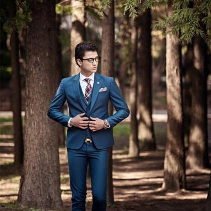 New Stock Navy Blue Men Wedding Sui..