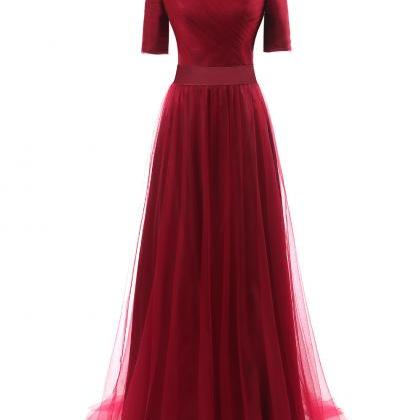 Burgundy Short Sleeves A Line Tulle..