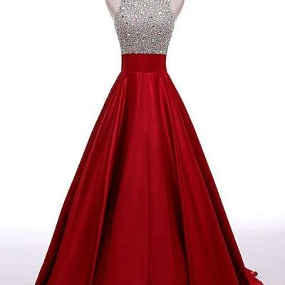 Beaded red Beading A-line Prom Dresses,Cheap Prom Dress,Prom Dresses For Teens,Satin Evening Dresses