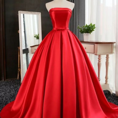 Strapless Red Ball Gown with Corset Back
