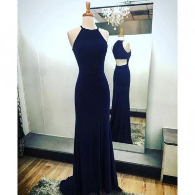 Elegant Prom Dress Navy Blue Sheath Halter Sweep Train with Split-Side ,Maxi Dress ,Women Summer Dress,Sexy Dress