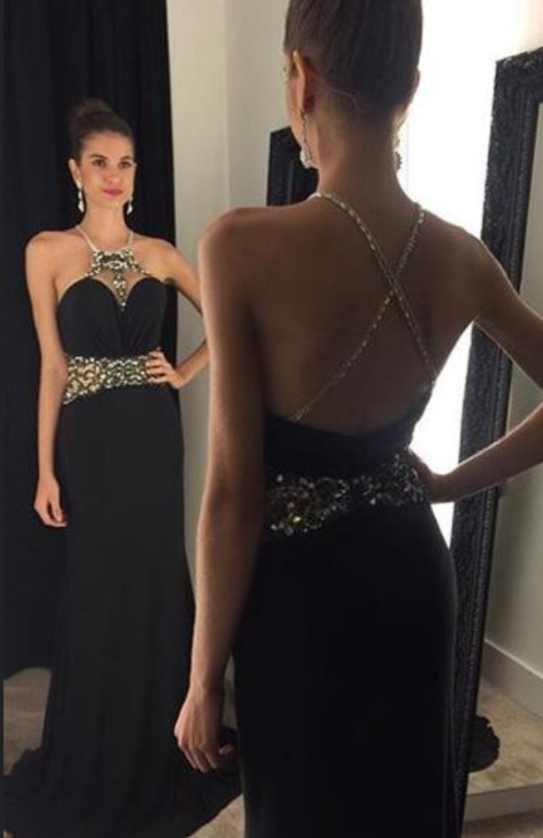 Custom Made Prom Dresses Halter Sleeveless Criss-Cross Sweep Train Chiffon and Crystal Black Party Dresses Sexy Formal Dress