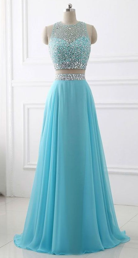 Simple Charming Blue Two Piece Chiffon Beaded Sparkle Long Prom Dress,Two Piece Round Neck Sleeveless Junior Party Dress