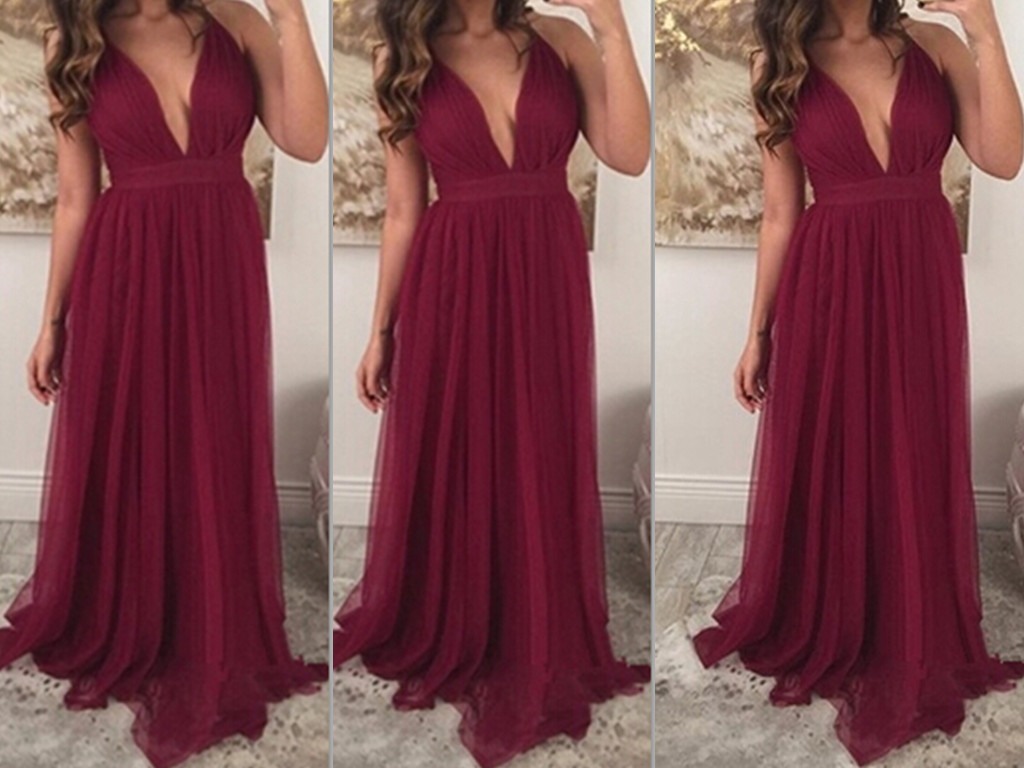 Wedding Burgundy Prom Dress sexy straps burgundy prom dressdeep v neckline gown gowncheap bridesmaid formal party dr