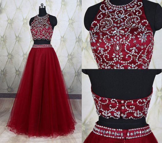 Wine Red New 2 Piece Prom Dresses With Sheer Neckline Hollow Back Crystal Sequined Bling Beaded Tulle A Line Evening Formal Dress Gown Custom