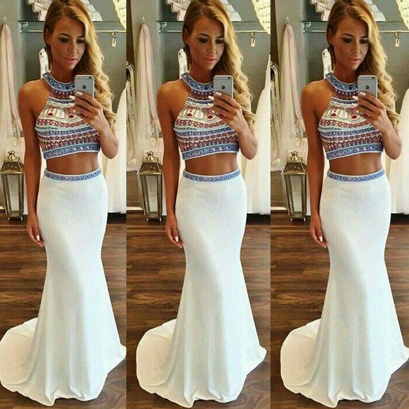 2017 Mermaid Prom Dresses,Beading Prom Dress,White Prom Gown,2 Pieces Prom Gowns,Elegant Evening Dress,Modest Evening Gowns,2 Piece Party Gowns,Prom Dress