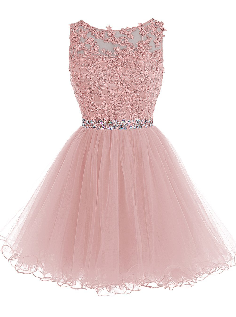 Blush Pink Short Prom Dress, Lace Beaded Prom Dress, Tulle Applique Evening Dress, Party Dress Dance, Pink Homecoming Dress, Beauty Graduation Dress