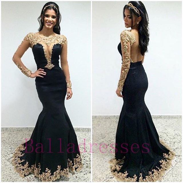 Black Prom Dresses,Lace Prom Dress,Sexy Prom Dress,Lng Sleeves ...