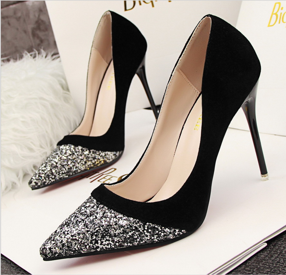 Pointed Toe Glittery High Heel Suede Pumps