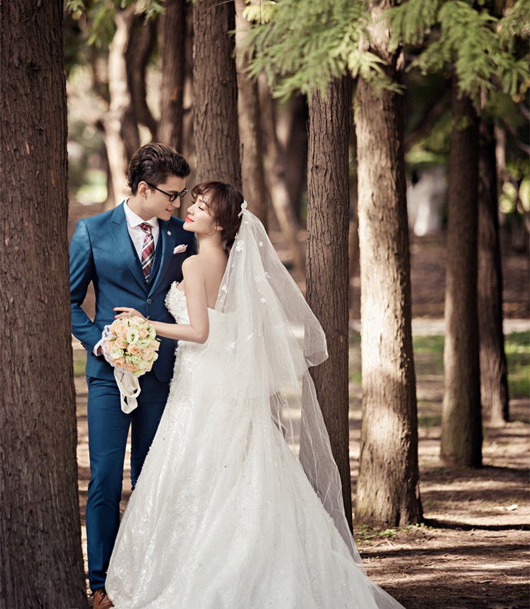 New Stock Navy Blue Men Wedding Suits Slim Fit Groom Tuxedos Jacket+Pants+Vest Wedding Suits,groomsman DRESS