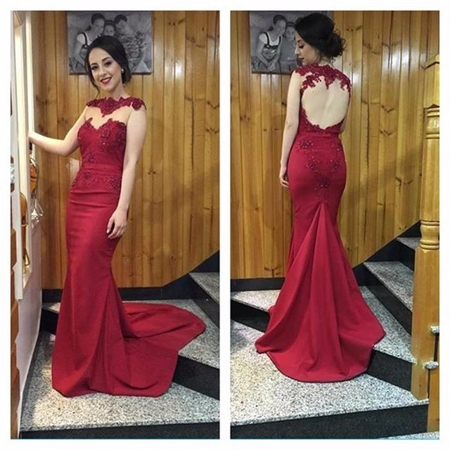New Burgundy Mermaid Prom Dresses Custom Made Open Back Beading Satin Formal Evening Gowns 2017