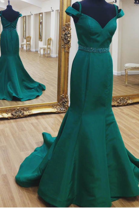 Green Prom Dress,Mermaid Evening Dress,Satin Prom Gowns,Sexy Prom Dresses