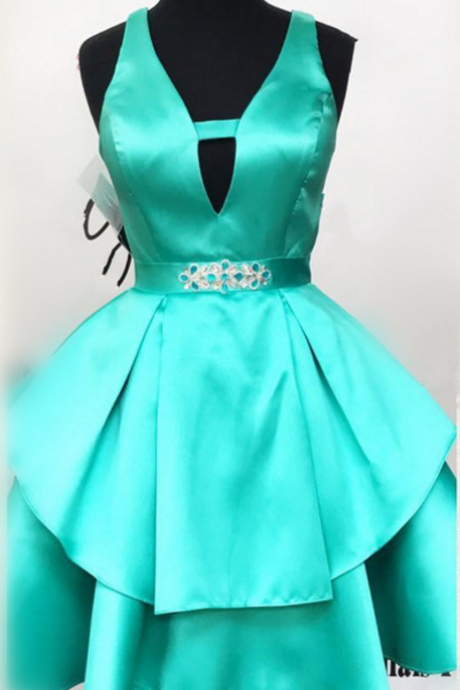 MINT green homecoming dress, short v neck prom dress,ruffles dress,short mini ball gowns