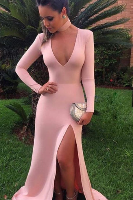long sleeves prom dress,blush pink prom dress,mermaid evening gowns,sexy prom dresses