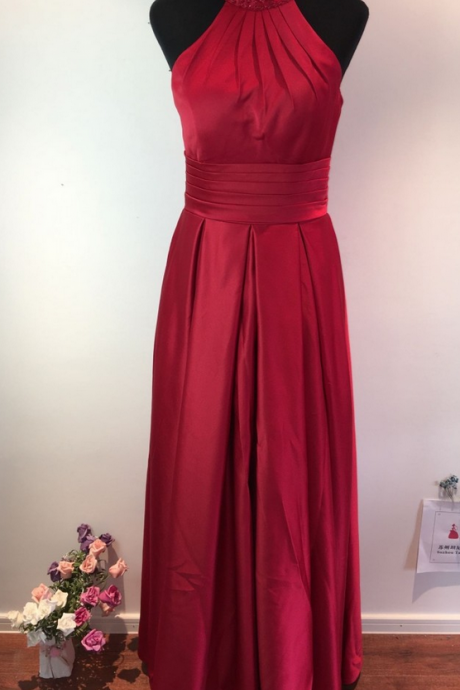 Red Satin Beaded Embellished High Halter Neck Floor Length A-Line Wedding Guest Dress