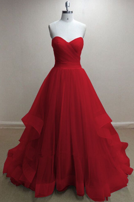 Red Sleeveless Princess Prom Dress Formal Occasion Dress Pageant Dress