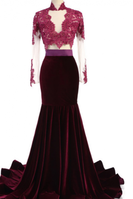 Come to the new luxury party ball gown beading the full-length velvet gown with a long velvet dress