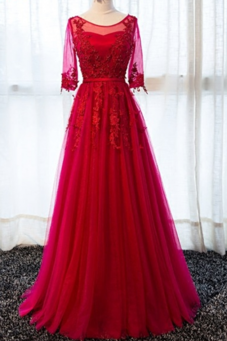 The long sleeve dress of red long sleeve dress evening gown evening gown of formal dress ball gown