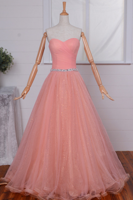 Strapless Sweetheart Ruched Beaded A-line Tulle Floor-Length Prom Dress, Evening Dress
