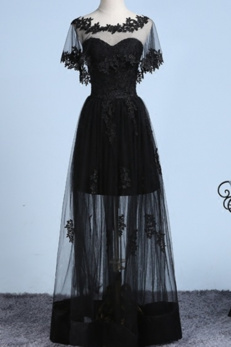Black Sheer Cape Lace Appliqués Floor-Length Evening Dress, Prom Dress, Party Dress