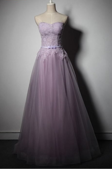 Purple Lace Appliqués Sweetheart Floor Length Tulle A-Line Formal Dress Featuring Lace-Up Back, Prom Dress