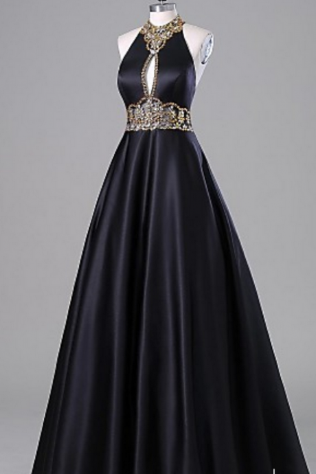 Long Prom Dresses,Beaded Prom Dresses,A-line Prom Dresses,Black Prom Dresses,High Neck Prom Dresses,Evening Dresses,Party Dresses