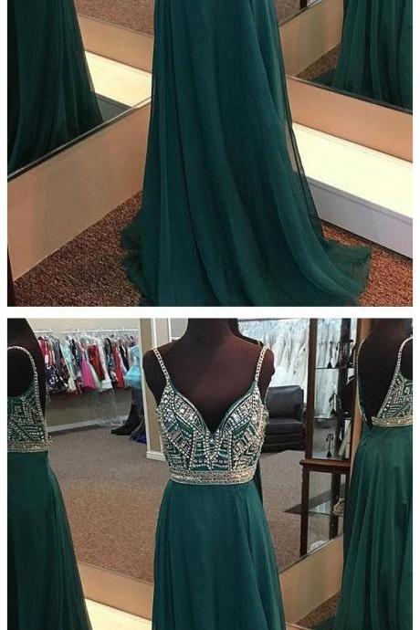 A-line V-neck Spaghetti Strap Chiffon Long Beaded Prom Dresses