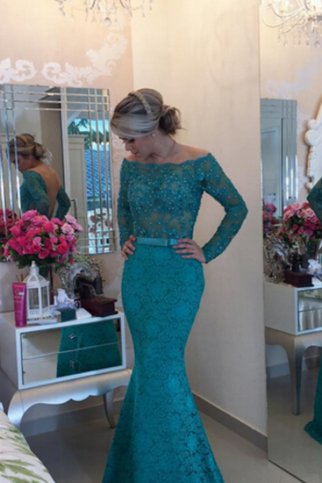 Long Sleeve Prom Dress,Mermaid Beadings Lace Prom Dress,See Through Prom Dress,Long Sleeve Mermaid Lace Evening Dress,Off the Shoulder Prom Dress,Green