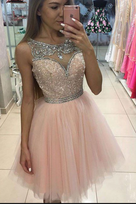 Tulle Homecoming Dress,homecoming dresses,pink tulle short prom dress for teens, pink homecoming dress