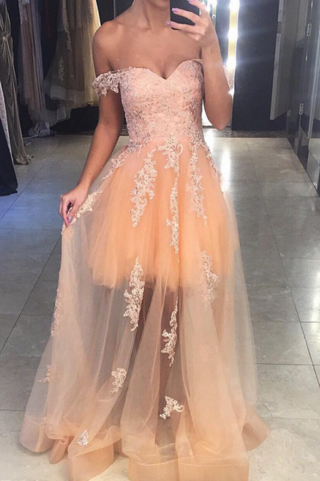 Champagne Tulle Prom Dresses, Off Shoulder Sweetheart Party Dresses, Homecoming Dresses, Formal Women Dress,Sexy Party Dress,Custom Made Evening Dress