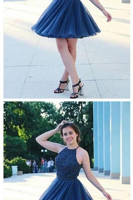 Homecoming Dress,Cocktail Dress,Homecoming Dresses,Beaded Halter Top Pleated Tulle Navy Blue Homecoming Dresses Short Prom Gowns