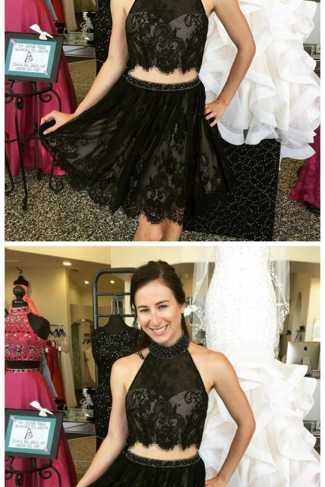 Homecoming Dress,Cocktail Dress,Homecoming Dresses,black lace two piece homecoming dresses short prom gowns