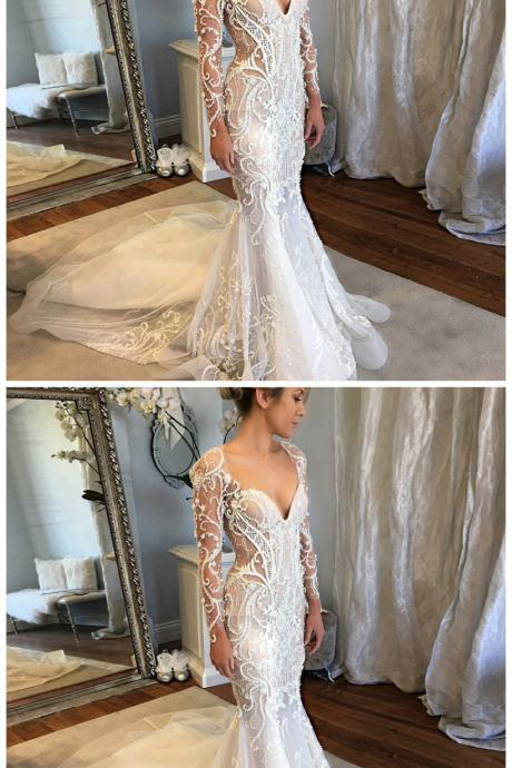 Mermaid V-Neck Long Sleeves Court Train Lace Wedding Dress