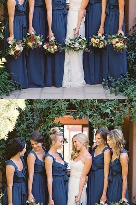 Cheap A-Line V-Neck Sleeveless Navy Blue Chiffon Long Bridesmaid Dress