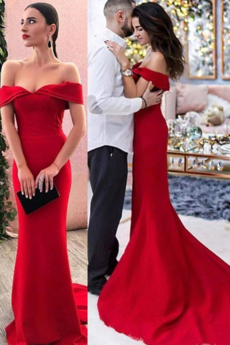 Chic Mermaid Off the Shoulder Open Back Red Satin Long Prom Dress
