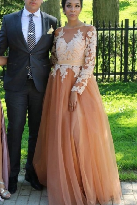 Tulle Prom Dress With Appliques, Lace Prom Dresses,Floor-length Prom Gown
