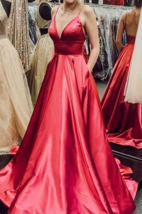 Simple V Neck Spaghetti Straps Red Satin Long Prom Dresses with Pockets Backless