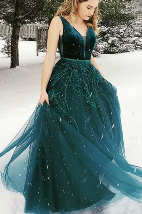 Gorgeous A-Line V-neck Floor-Length Dark Green Prom Dress With Appliques