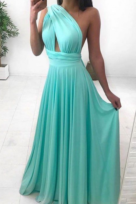 Simple elegant chiffon long prom dress, sexy long evening dress