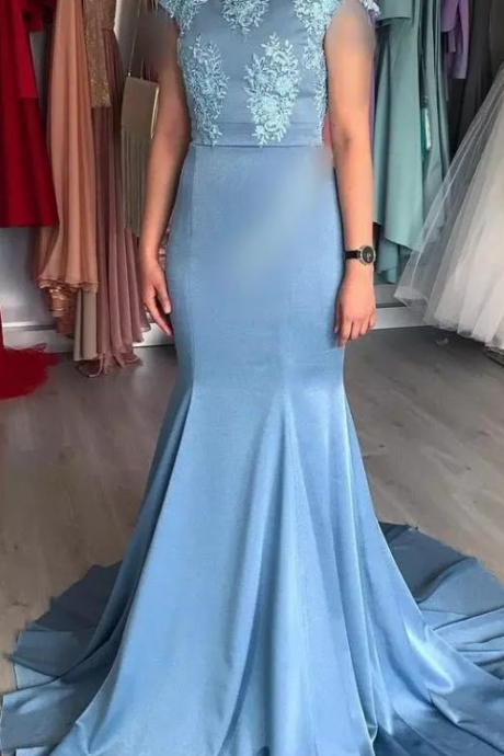 Mermaid Formal Evening Dresses Short Sleeve Jewel Lace Applique Sweep Train Satin Prom Party Gown