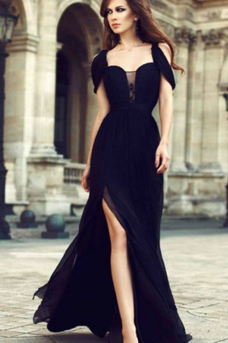 Chic Black Prom Dress, Modest Charming, Simple Pretty Long Prom Dress