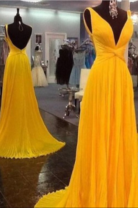 V-neck prom dress, long prom dress, chiffon prom dress, evening dress