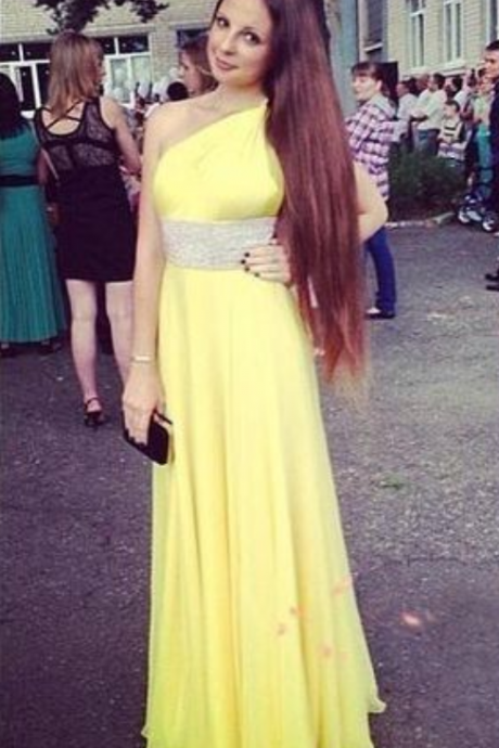 Prom Dresses , One Shoulder Prom Dresses , Sleeveless Prom Dresses , Yellow Prom Dresses ,Chiffon Prom Dresses