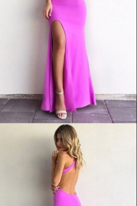 Simple Charming Mermaid Round Neck Backless Fuchsia Elastic Satin Split Long Prom Dress
