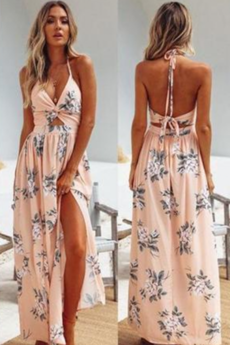 Sexy Beautiful Customized Unique Floral Print Backless Boho Maxi Prom Dress With Slit