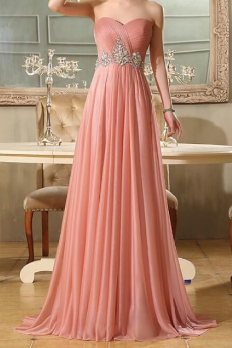 Lovely Pink Chiffon Beaded Floor Length Party Dress, Prom Dress , Pink Party Gown