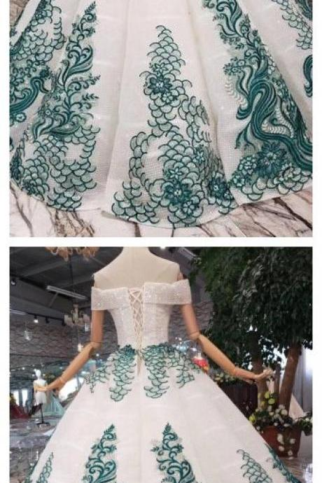 New Arrival Ball Gown Off the Shoulder Prom Dress with Green Appliques, Quinceanera Dress